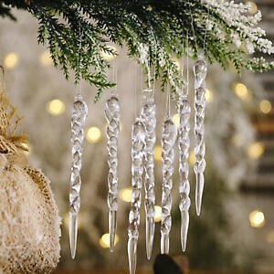 48pcs/set Glass Icicle Ornaments - Winter Decorations for Christmas Tree