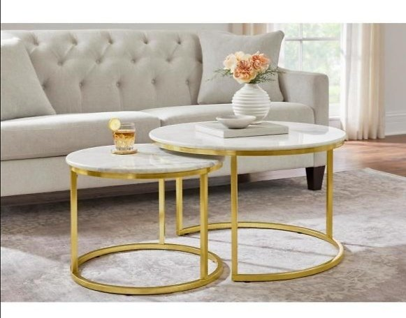 Cheval Gold Metal Nesting Coffee Tables