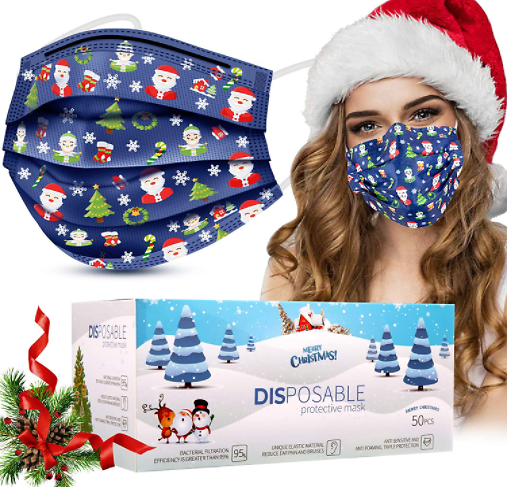 50 Pack Christmas Disposable Mask