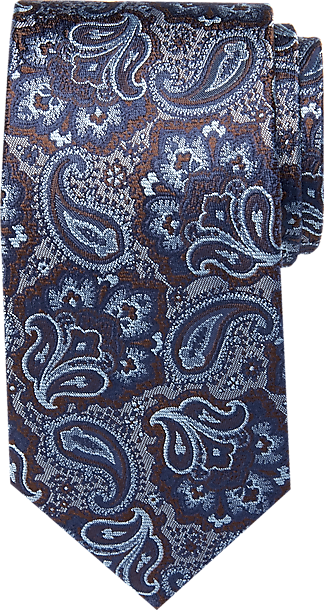Joseph Abboud Voyager Blue & Brown Paisley Narrow Tie