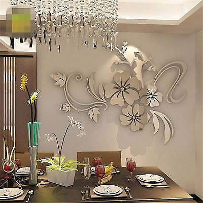 Removable 3D Mirror Flower Wall Sticker Acrylic Mural Decal Home Room Decor FJH