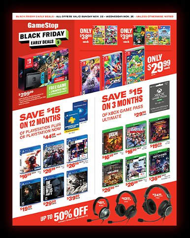 Black Friday Early Deals At Gamestop
