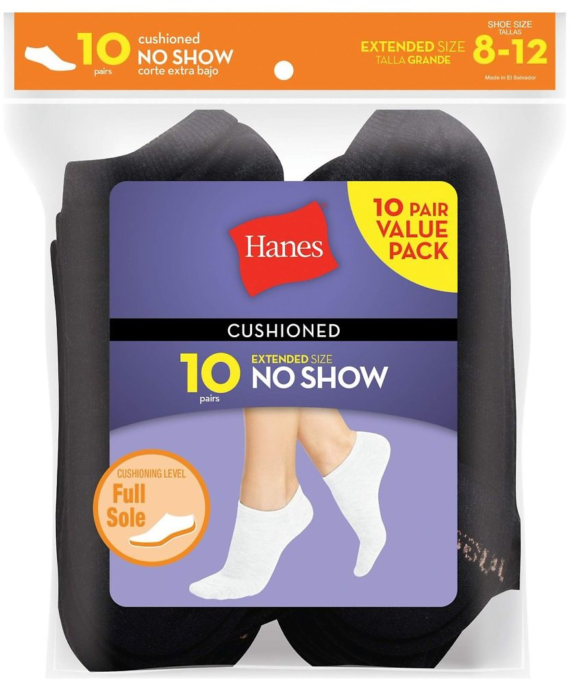 Hanes Women's Cushion No Show Socks, 10 Pack