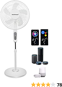 Fan Oscillating, Alexa Google Home Phone Voice Control WiFi Smart Fan, SmaInHand Standing Stand Up Floor Quiet Electric High Velocity Rotating Tall Large Big Air Fans for Bedroom, Home, House, Room Cooling Sleep and Shop, 2.4G WiFi Only (No 5G...