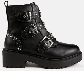 Missguided - Black Buckle Strap Chunky Ankle Boots