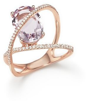 Bloomingdale's Amethyst and Diamond Statement Ring in 14K Rose Gold - 100% Exclusive Jewelry & Accessories - Bloomingdale's