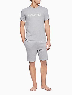 CK Chill Heathered Logo Drawstring Lounge Shorts | Calvin Klein