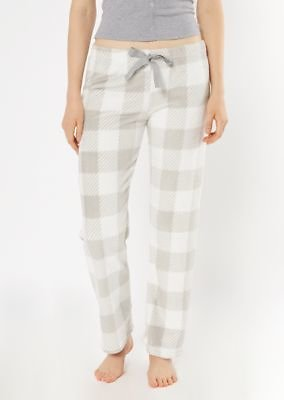 Gray Plaid Print Plush Sleep Pants
