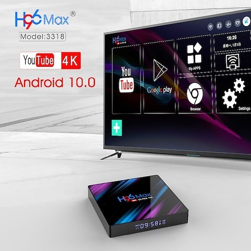 Free Shipping Android 10.0 Smart TV Box H96 Max RK3318 4G RAM 64G ROM BT4.0 for Quad Core Set Top Box Youtube HD Android Smart Media Player