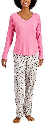 Jenni Ribbed Hacci Pajama Top & Cotton Flannel Pajama Pants Separate, Created for Macy's & Reviews - Bras, Panties & Lingerie - Women