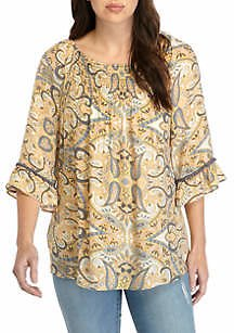 New Directions® Women's 3/4 Sleeve Smock Front Top