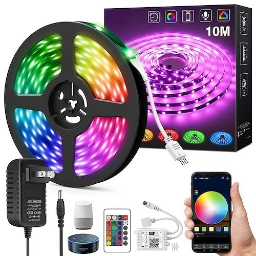 ZDM New 10-20Meter WiFi Intelligent Remote Dimming Free App 5050 RGB Led Strip Lights Power Kit DC12V