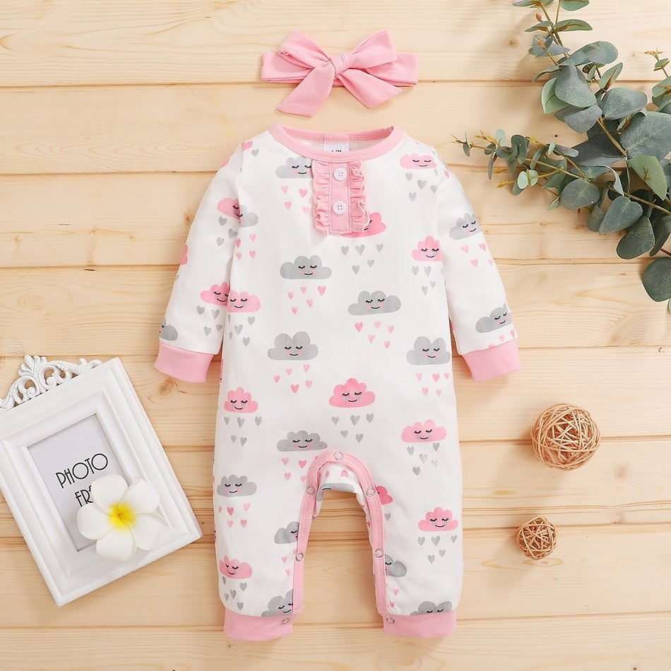2-piece Baby Stars or Cloud Jumpsuit and Headband Set