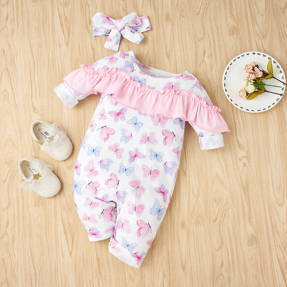 2-piece Baby Butterfly Ruffled Jumpsuit and Headband Set