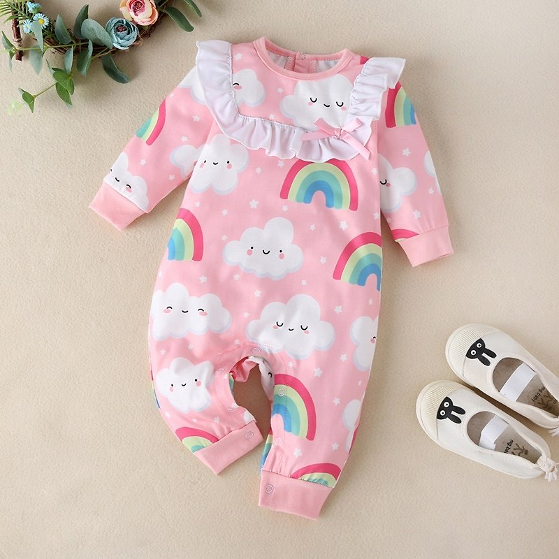 Baby Cloud and Rainbow Ruffled Jumpsuit