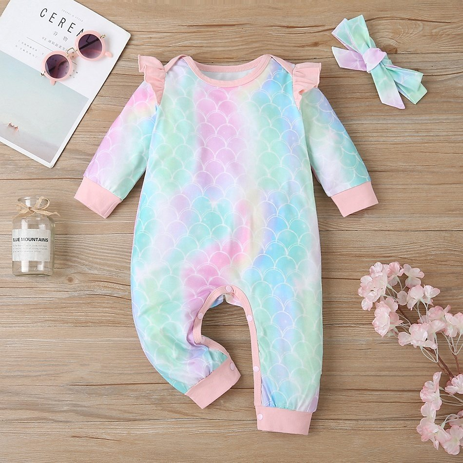 2-piece Baby Sweet Ruffled Tie-dyed Jumpsuit and Headband
