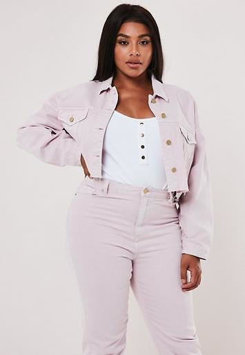 Missguided - Plus Size Blush Co Ord Cropped Denim Jacket