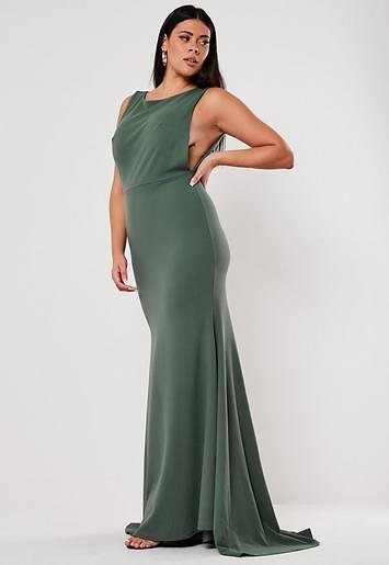 Missguided - Plus Size Bridesmaid Green Sleeveless Low Back Maxi Dress