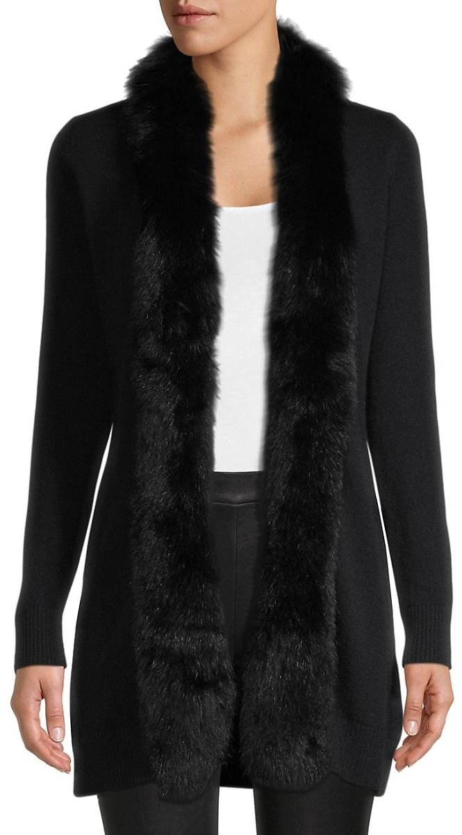 SOFIA CASHMERE Fox Fur-Trimmed Cashmere Cardigan Sweater EXTRA 50% OFF WITH CODE BFSTEALS