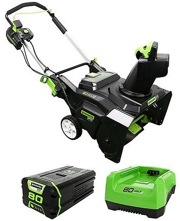 Greenworks 80V 4.0Ah 22-in. Electric Single Stage Snow Thrower Green 2605902