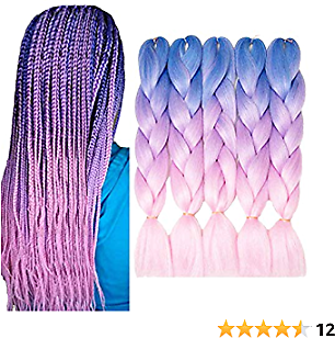 VERVES Braiding Hair Synthetic Ombre Fiber Hair Crochet Braids 5 Piece/lot 24 Inch Braids 100g/piece (light Blue Ombre Light Purple Ombre Pink)