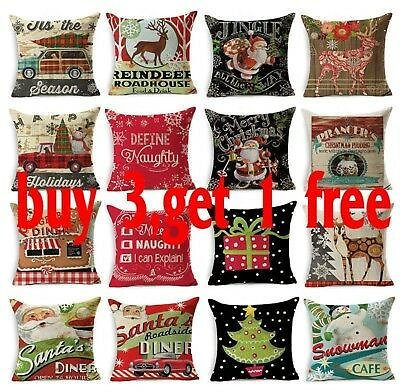 Throw Home Decor XMAS Series Pillow Case Cotton Linen Pillow Cushion Cover Party
