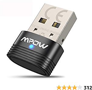Mpow Bluetooth 5.0 USB Adapter for PC, Bluetooth Dongle USB Receiver Supports Windows 7/8.1/10, for Desktop, Laptop, Mouse, Keyboard, Printers, Headsets, Speakers