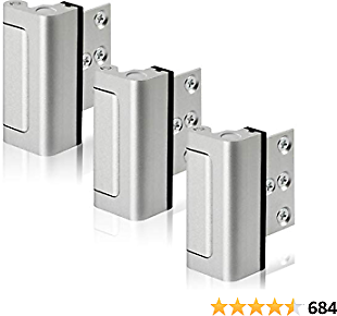 Lifechaser 3PACK Home Security Door Reinforcement Lock Childproof Door Lock Defender, Add High Security to Home Prevent Unauthorized Entry, Aluminum Construction Finish (3Pack)