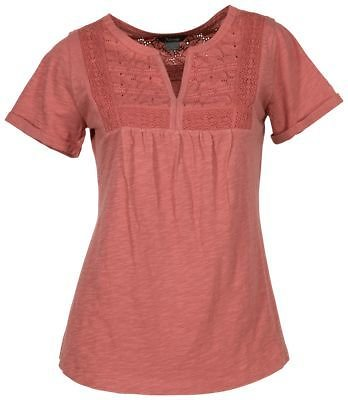 Natural Reflections Lace Yoke Notch-Neck Short-Sleeve Top for Ladies   Bass Pro Shops
