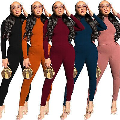 Women Long Sleeves High Neck Rib Solid Color Casual Club Party Bodycon Pants Set