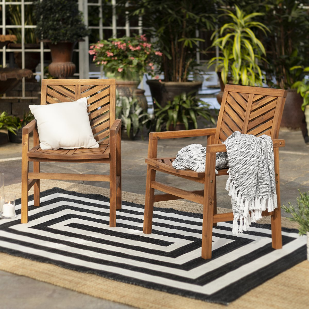Brown Chevron Outdoor Wood Patio Chairs By Manor Park, Set of 2