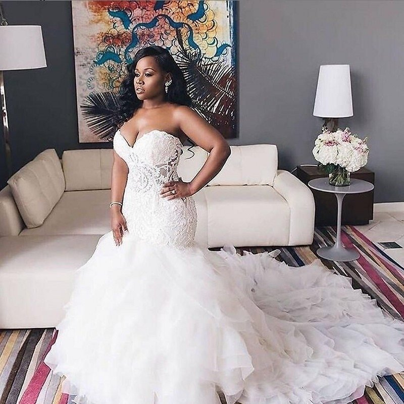 US $157.25 15% OFF|2020 African Wedding Dresses Sweetheart Lace Mermaid Plus Size Bridal Gowns Lace Up Tiered Sweep Train Wedding Vestidos|Wedding Dresses| - AliExpress