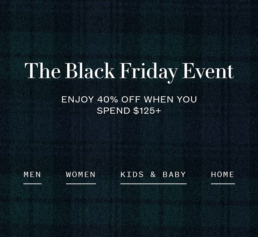 Up to 50% Off + Extra 40% OFF $125+ Black Friday Sale + Free Shipping