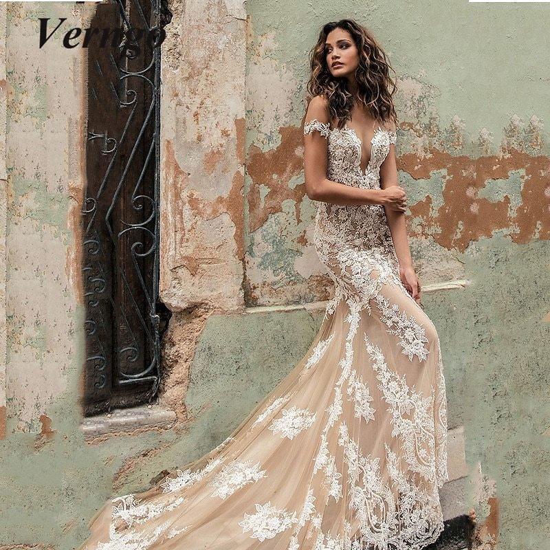 US $109.04 53% OFF|Verngo Off The Shoulder Sexy Wedding Dress Mermaid Lace Applique Illusion Neckline And Back Bridal Gowns Sweep Train Vestidos|Wedding Dresses| - AliExpress