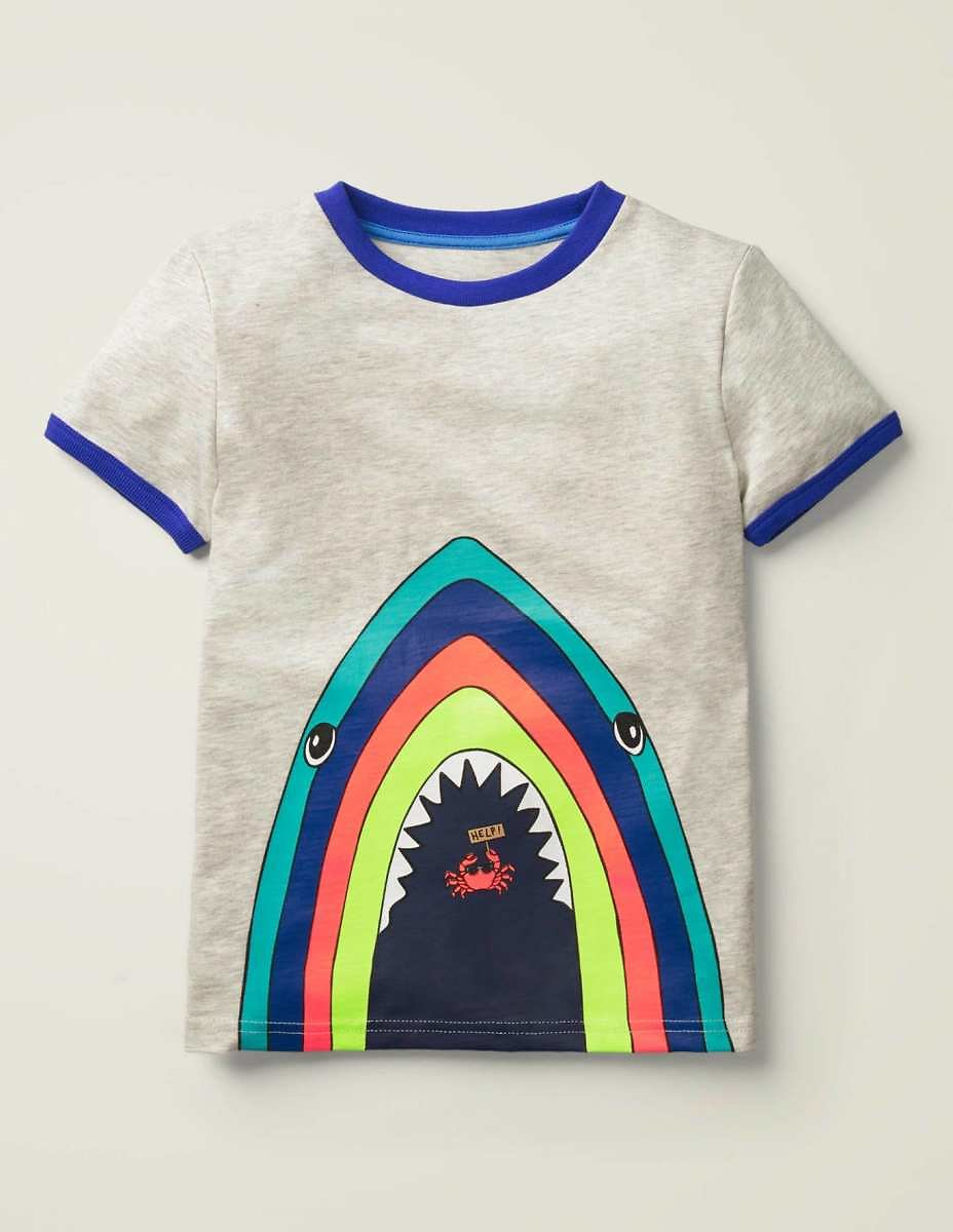 Ocean Animal T-shirt - Silver Marl Rainbow Shark