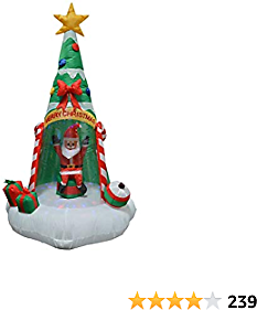 Impact Canopy Inflatable Outdoor Christmas Decoration, Lighted Santa with Christmas Tree, 6 Feet Tall
