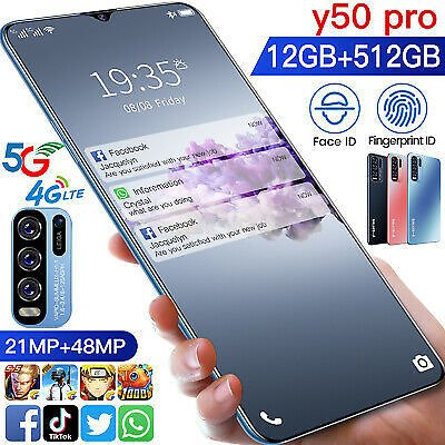 6.8 Inch Smartphone 12GB+512GB Android 10 10-Core Face ID Unlock Mobile Phone