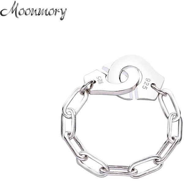 US $8.16 51% OFF|Moonmory Fashion 925 Sterling Silver Handcuff Ring White Paper Clip Chain Menottes Ring Gift For Women And Men Jewelry Dating|Rings| - AliExpress