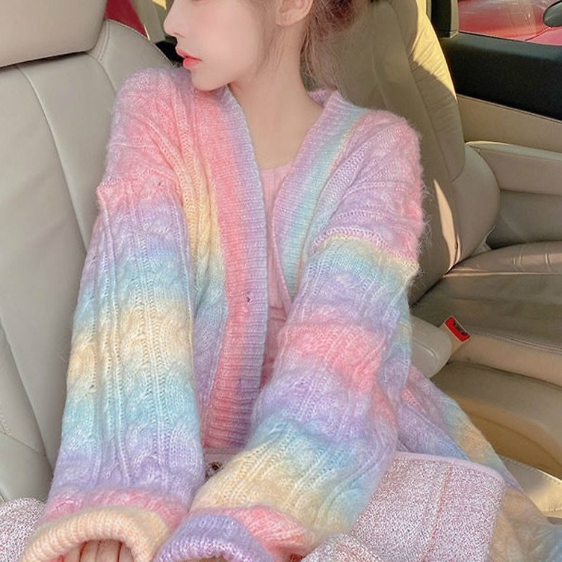 US $25.71 42% OFF|Rainbow Knitted Cardigan Women Autumn Winter Sweet Kawaii Sweater Coat Female Long Korean Button Down Cardigan Fall 2020 Women|Jackets| - AliExpress