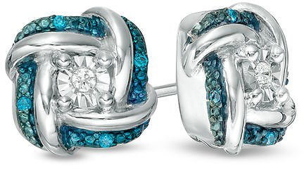 Enhanced Blue and White Diamond Accent Knot Stud Earrings in Sterling Silver|Zales
