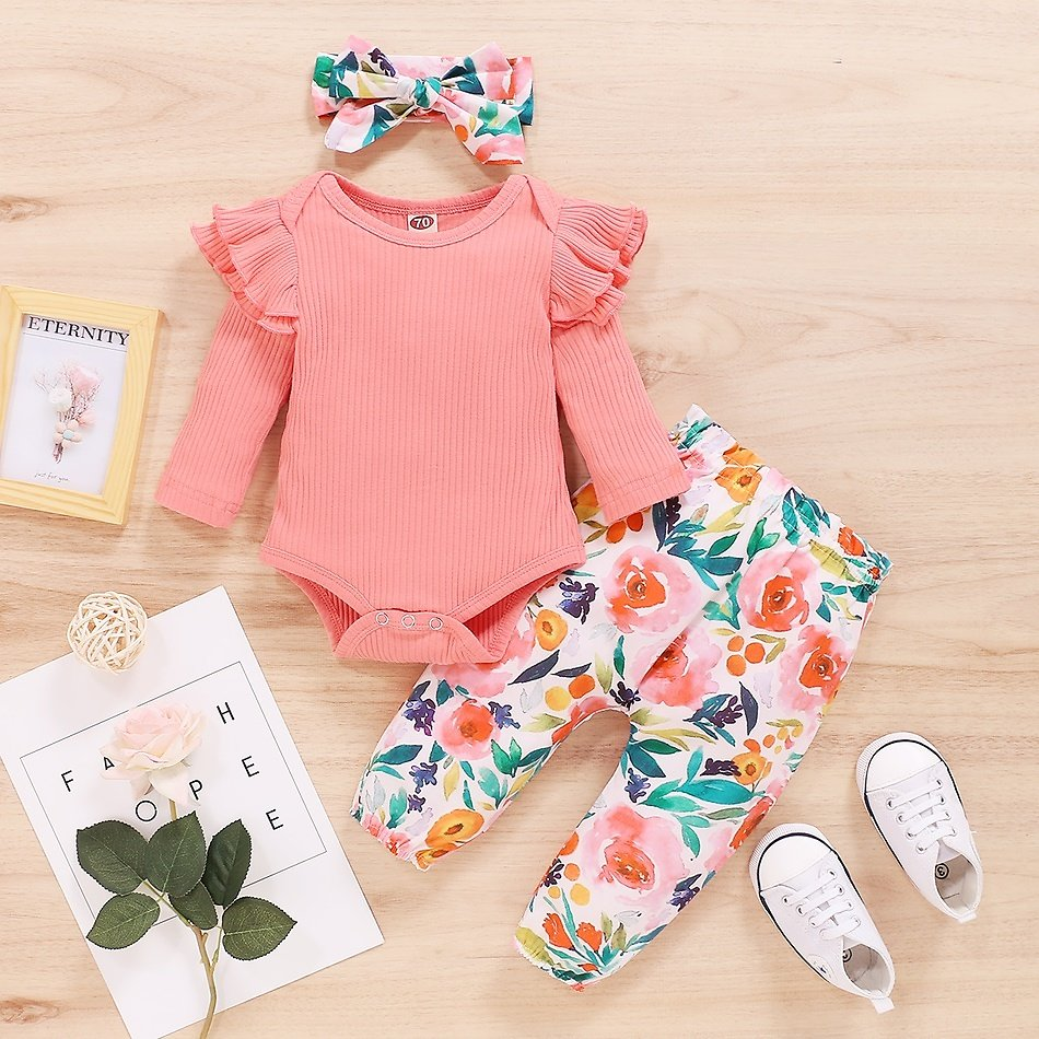 3pcs Baby Girl Sweet Floral Baby's Sets Fashion Long Sleeve Romper Infant Clothing Outfits