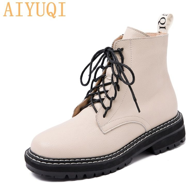 US $37.57 53% OFF|AIYUQI Boots Female Women Shoes Ankle 2020 Autumn British Wind Genuine Leather Thick With Short Boots Motorcycle Martin Shoes|Ankle Boots| - AliExpress