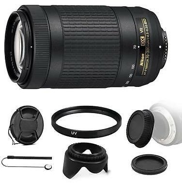 Nikon AF-P DX NIKKOR 70-300mm F/4.5-6.3G ED VR Lens + Bundle For DSLR Cameras 718174982052