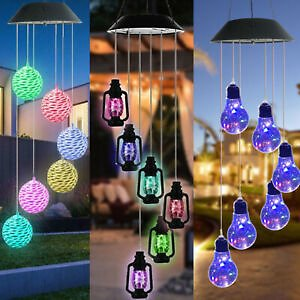 LED Light Solar Powered Wind Chime Color Changing Yard Garden Decor Hanging Lamp