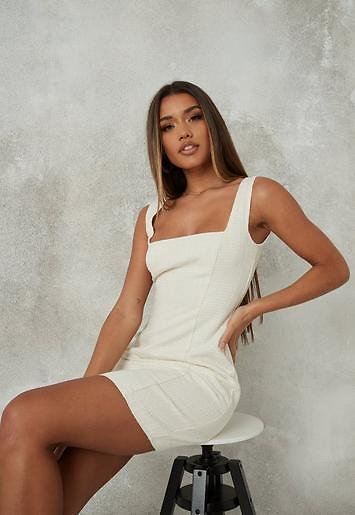 Missguided - Cream Boucle Mini Dress