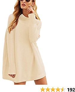 ANRABESS Women Casual Turtleneck Batwing Sleeve Slouchy Oversized Ribbed Knit Tunic Sweaters