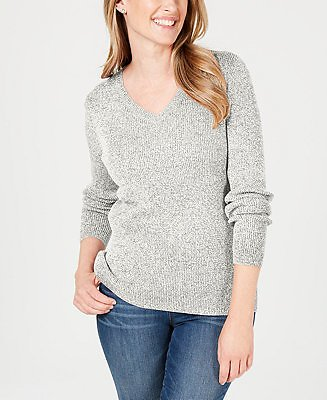 Karen Scott Petite Ribbed V-Neck Sweater, Created for Macy's & Reviews - Sweaters - Petites