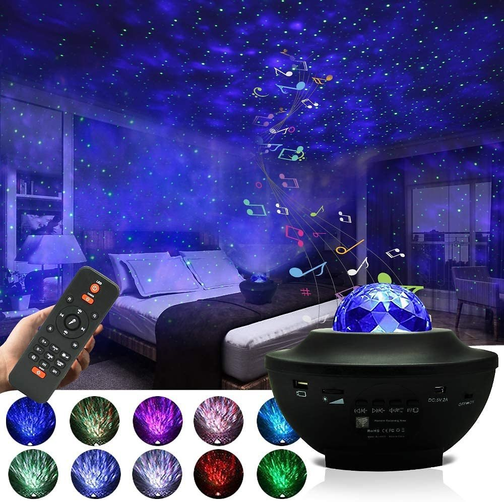Starry Night Light Projector for Bedroom,Sky Galaxy Projector Ocean Wave Projector Light with Remote Control & Bluetooth Music S