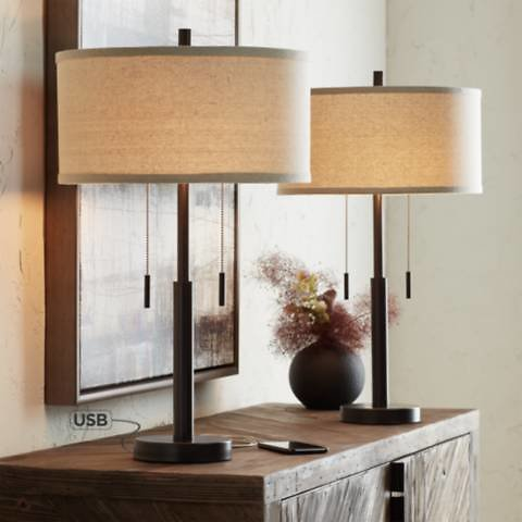 Bernie Industrial Bronze Table Lamp with USB Set of 2 - #38E40 | Lamps Plus