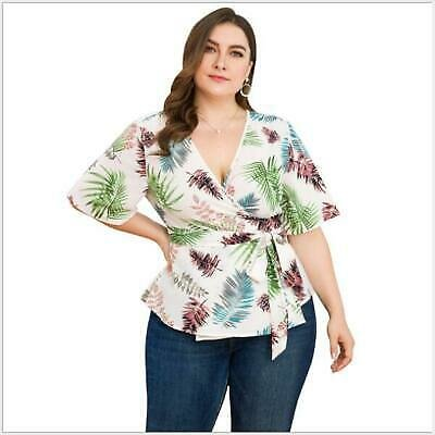 Tops Summer Ladies Short Sleeve V-Neck Womens Blouse Floral Casual T-Shirt